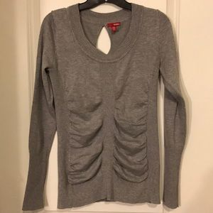 Bongo long sleeve gray ribbed fitted sweater